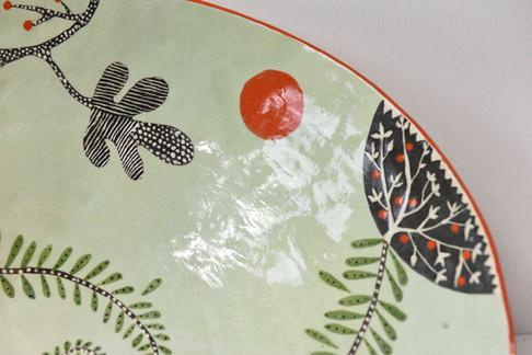 Large pale green fern bowl (detail)