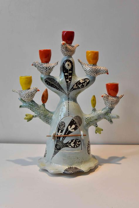 five spotty birds candelabra, acid colour cups