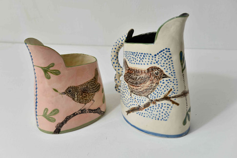 small jugs - pink with thrush, blue and