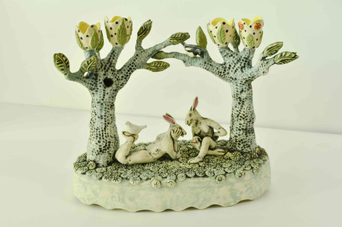 Gossiping Hares Candelabra