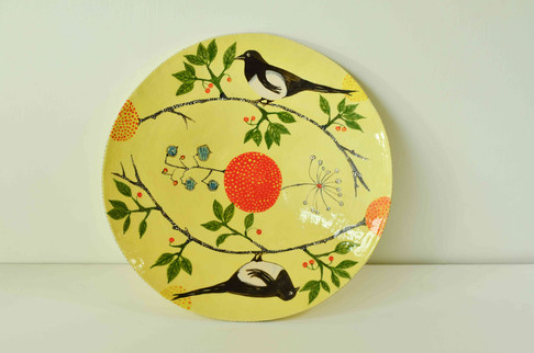 Yellow Plate with Magpies