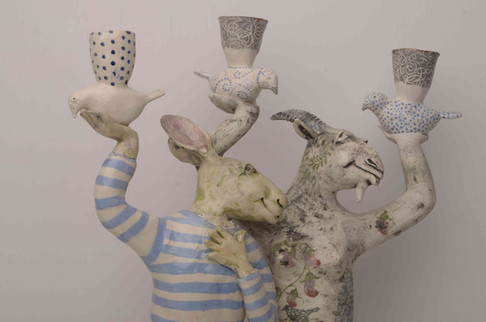 Hare and Goat Candelabra
