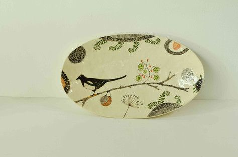 Cream Oval Plate with Magpie and Seeds (