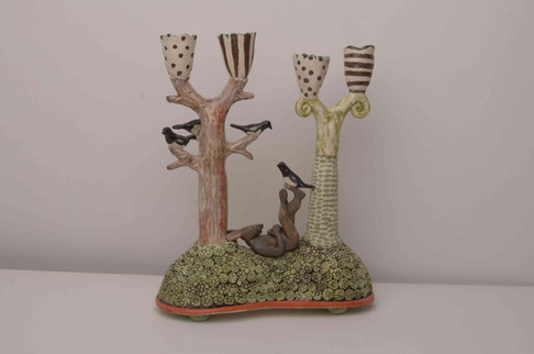 Hare and Magpie Candelabra