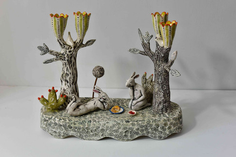 hare candelabra - 'life is a bowl of cherries'