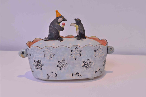 Penguin with Ice Cream Box