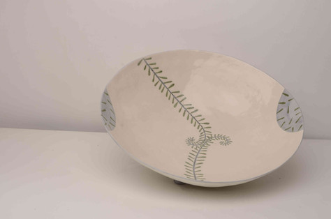 Large Cream Bowl With Fern