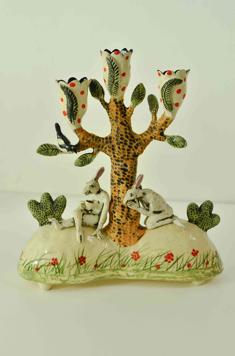 Hares and a Magpie Candelabra
