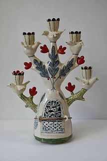 Five bird candelabra with red heart shap