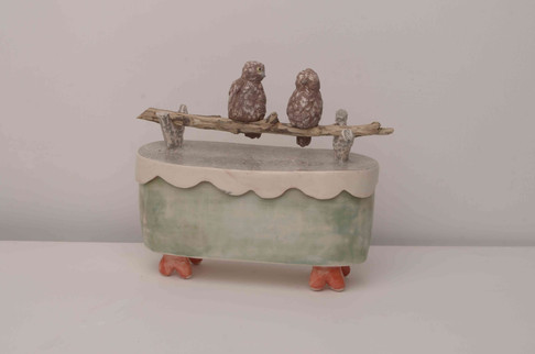 Two Owls on Branch Box