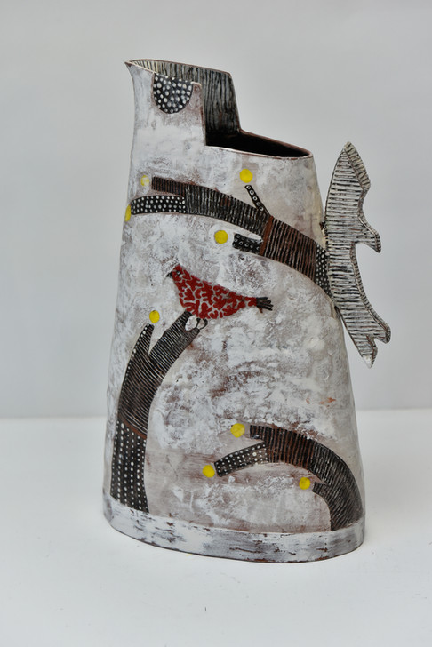 large white jug with stylised branches r