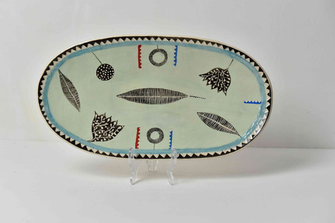 pale bluegreen platter, b&w leaf design.