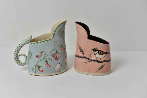 blue sweetpea spotty handle jug and snowy branch, coal tit with berry small pink jug