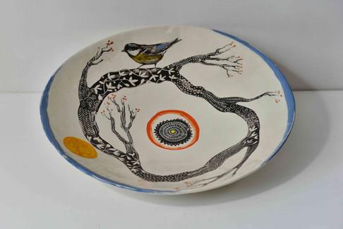 large white shallow bowl, tree pattern,