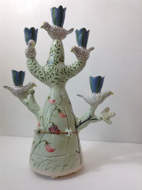 sweetpea candelabra, 5 spotty birds, blu