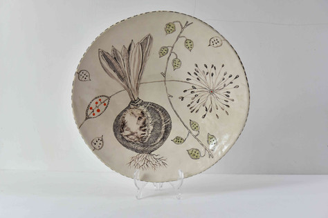 white platter with tulip bulb and seeds,