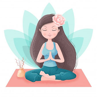 Girl In Yoga Asanas And Accessories For