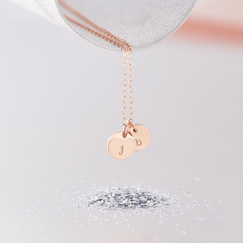 Personalised initials necklace 9ct rose gold personalised wear your favourite initials close to your heart with this tiny personalised initial necklace choose up to three 9ct rose gold discs to be hand stamped aloadofball Gallery
