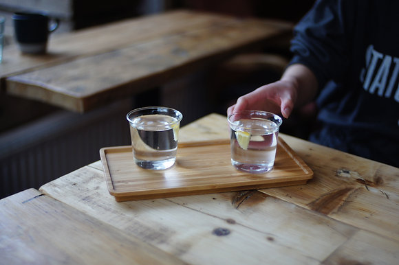a kinto green tea or water glass