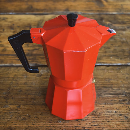 Large red Moka Pot available from Unorthodox Roasters