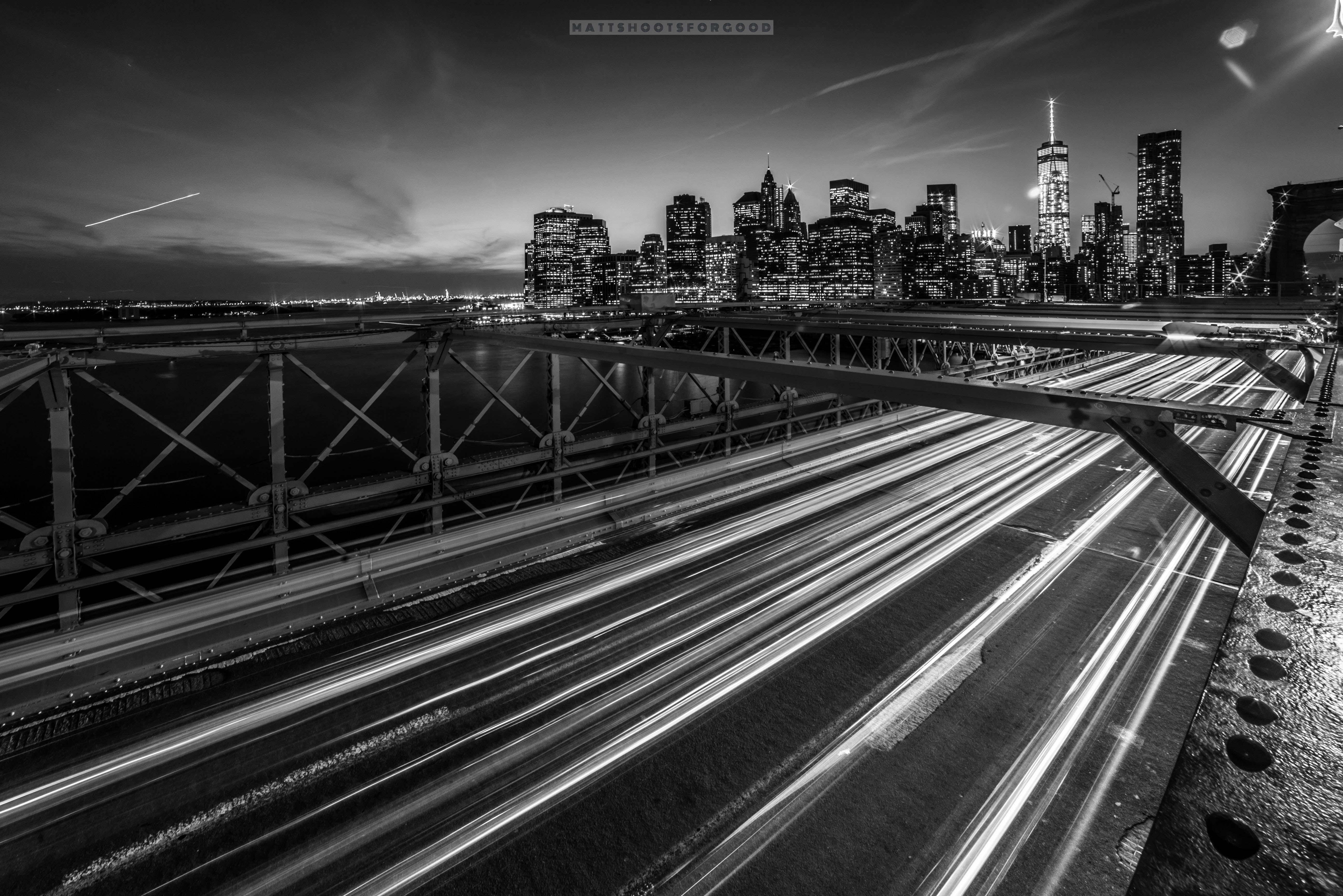 Brooklyn Bridge Long Exposure B&W NYC