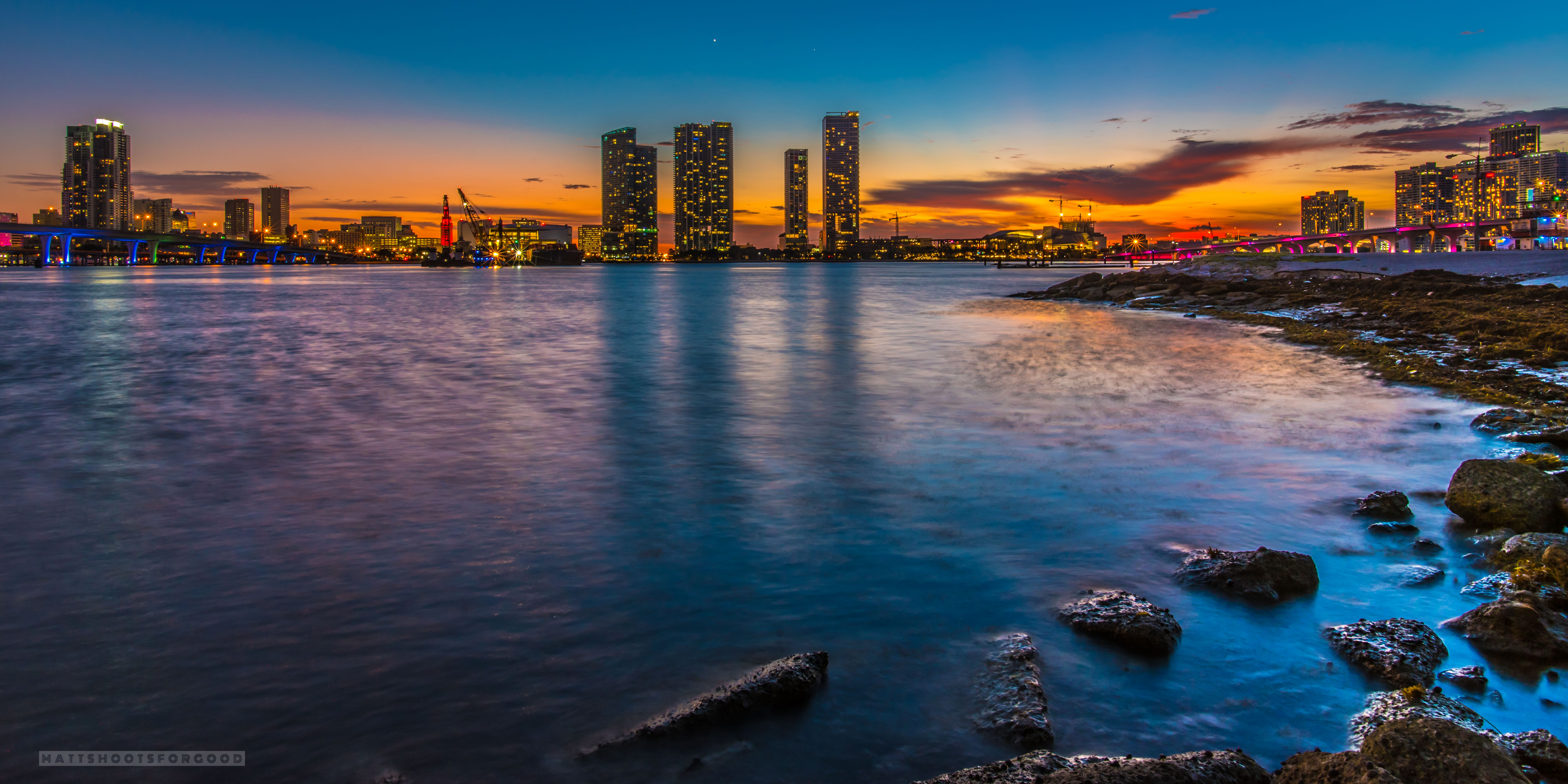 Miami Florida Skyline Sunset