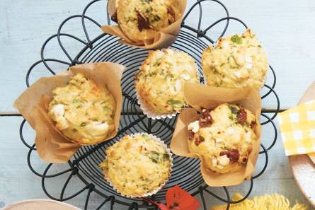 Spinazie-courgette muffins