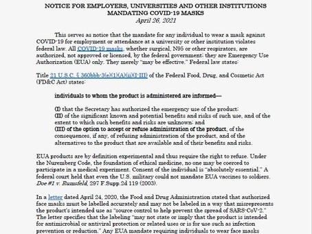 Mask Mandates Violate Federal Law