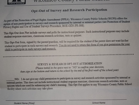 Wicomico County Public Schools Provides Parents with an Opt-Out Option to Student Surveys
