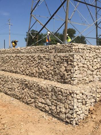 Utility Support Gabion Retaining Wall