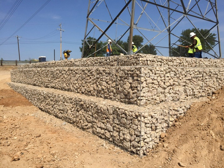 Utility Support Gabion Retaining Wall