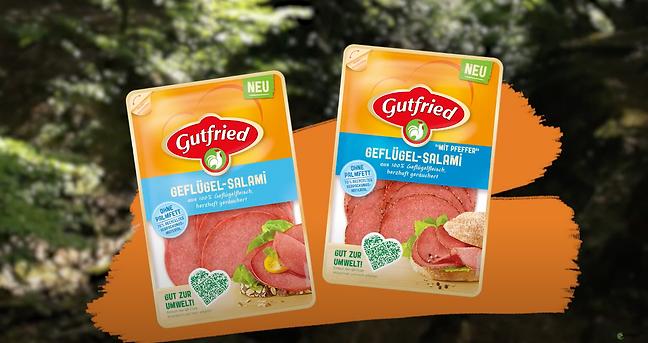 NEU: Gutfried Geflügel-Salami aus 100% Geflügelfleisch, herzhaft geräuchert. Komplett ohne Palmfett! Gut zur Umwelt! Für dieses Produkt hat die tri-ergon film- & werbeagentur aus Bielefeld ein kurzes Informationsvideo gedreht.