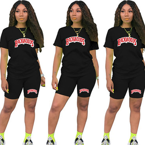 Letter T Shirts and Shorts Women Two Piec Set Summer Short Sleeve O-Neck Casual