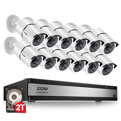 ZOSI 16CH 1080p Security Camera System With 12 2.0MP