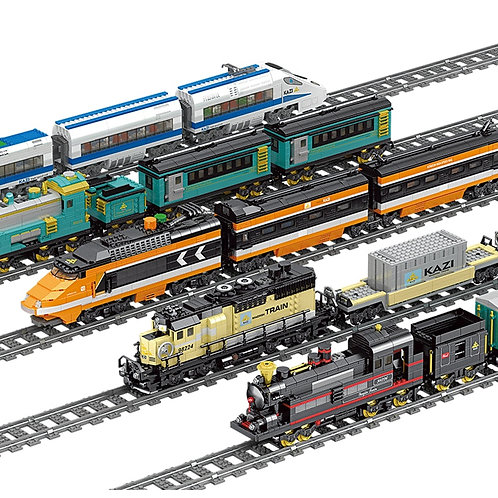 MOC Technic Battery Powered Electric Classic City Train Rail Building Blocks