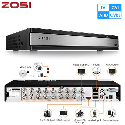 ZOSI 720P 1080P 16 Channel CVBS AHD CVI TVI 4-In-1 Hybrid CCTV DVR Board