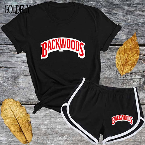 Cute Black Red Letter T Shirt and Shorts Tracksuit Set Summer Women Short Sleeve