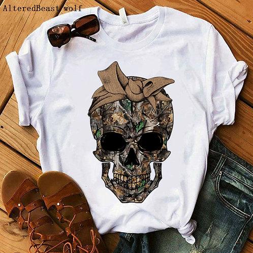 Summer Camo Skull T-Shirt Women Harajuku Leopard Bandana Printed Mom T Shirt
