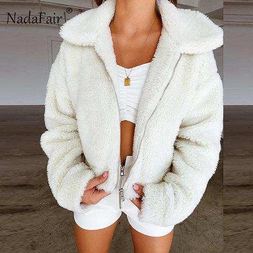 Nadafair Teddy Coat Women Winter Faux Fur Coat Thick Plus Size Fluffy Pockets