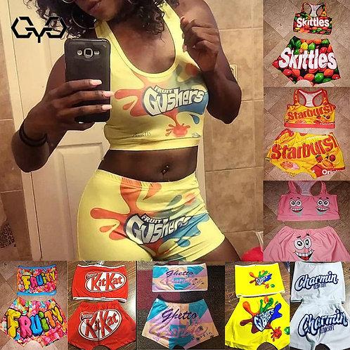 2020 Candy Shorts Women Mini Booty Bar Shorts Two Piece Set Women Tube Top Party