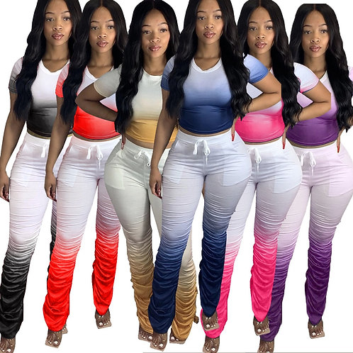 JRRY Women Tracksuits Two Pieces Set Short Sleeve Top Flared Pants 2 Pieces Set