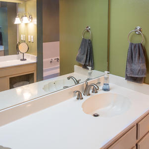 Master bath, double sinks, vanity.