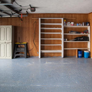 Garage, pegboard wall & shelves.
