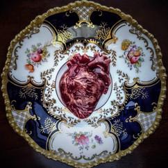 Raw, glass and Edwardian saucer, d: 13cm (heart: 6 x 4 x 2cm) 2018.