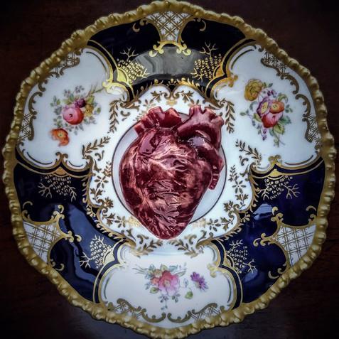 Red Heart, glass and Edwardian saucer, d: 13cm (heart: 6 x 4 x 2cm) 2018.