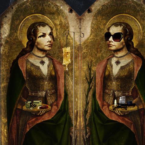 Double self-portrait as Saint Lucy (after Carlo Crivelli), 34 x 34cm, 2019.