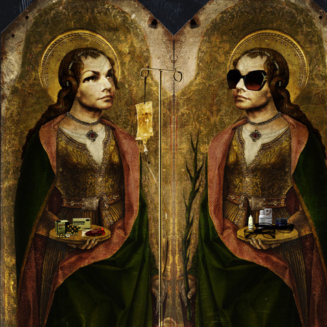 Double self-portrait as Santa Lucia (after Carlo Crivelli), mixed media, d: variable, 2019.