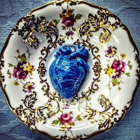 Blue Heart, 1950s saucer, 2017. £250  Private collections, London and Belgium.