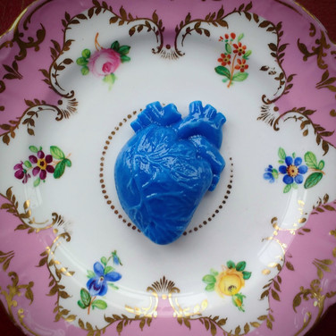 Blue Heart on a Victorian bread plate, 2017.
