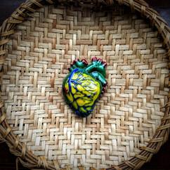 Brazilian Bleeding Heart, glass and indigenous basket, d:22cm (heart: 6 x 4 x 2cm), 2019. £250